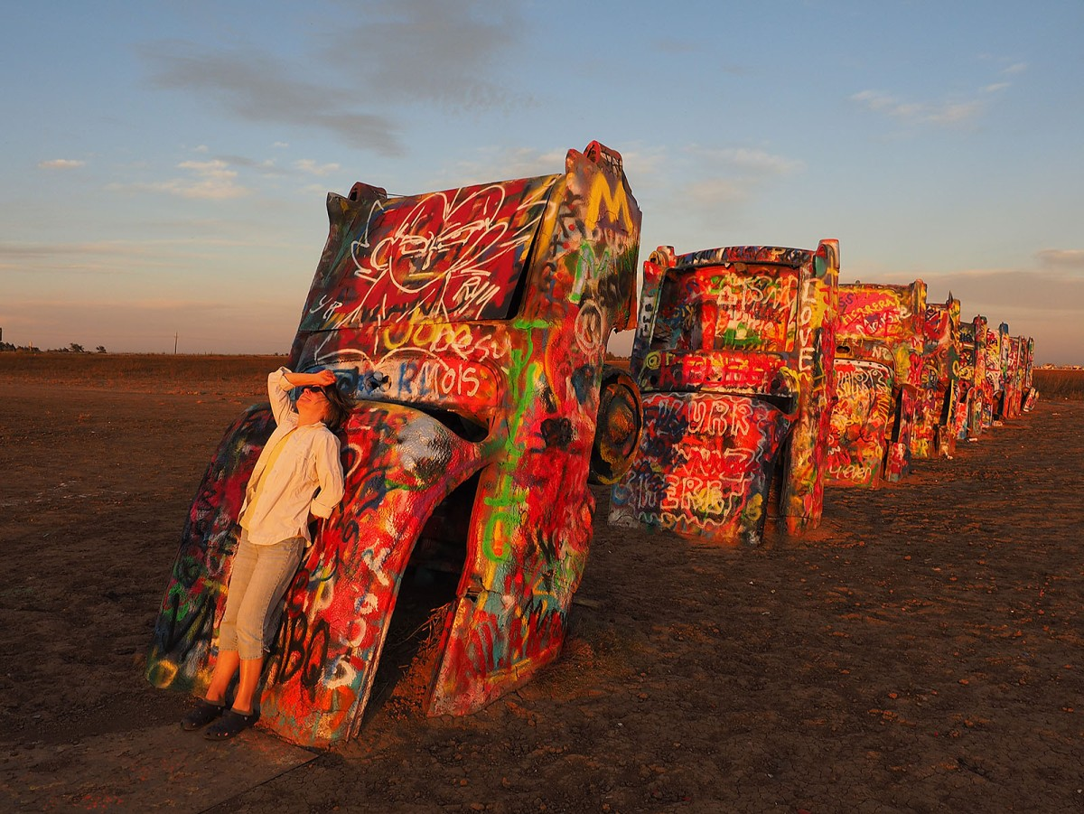 Deb at Cadillac Ranch near Amarillo, Texas.