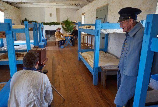 Cody Mobley shooting wet plate ambrotype photographs in the barracks of Fort McKavett.