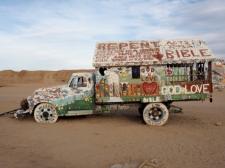 A truck at Salvation Mountain.