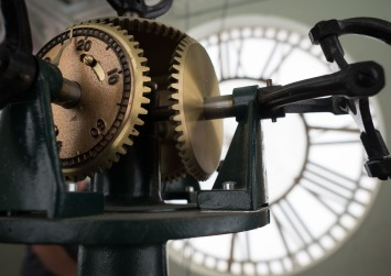 Inside the clock tower of the DeWitt County Courthouse.
