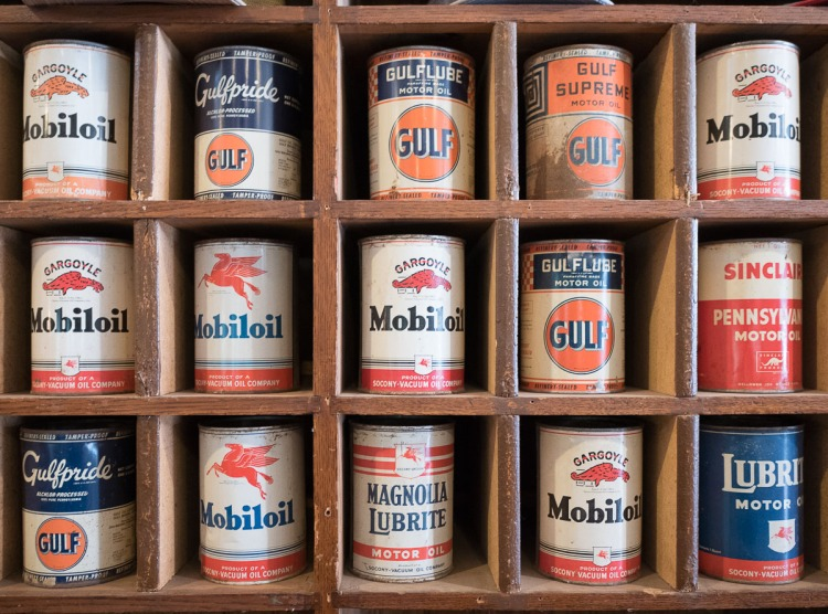 Vintage oil cans at the Luling Oil Museum.