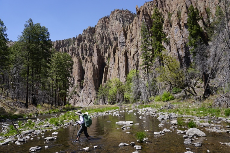 Hiking along the Middle Fork of the Gila River.