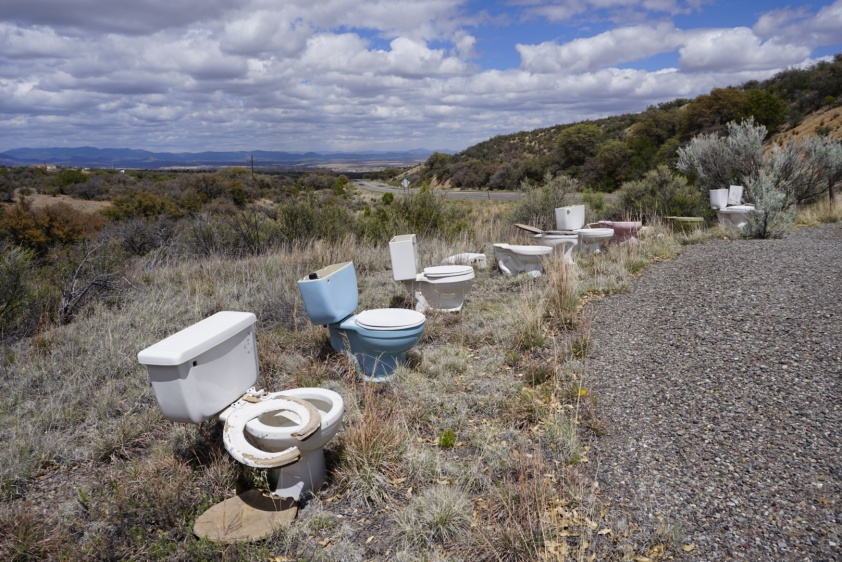 A collection of toilets along the Highway 90 road walk.