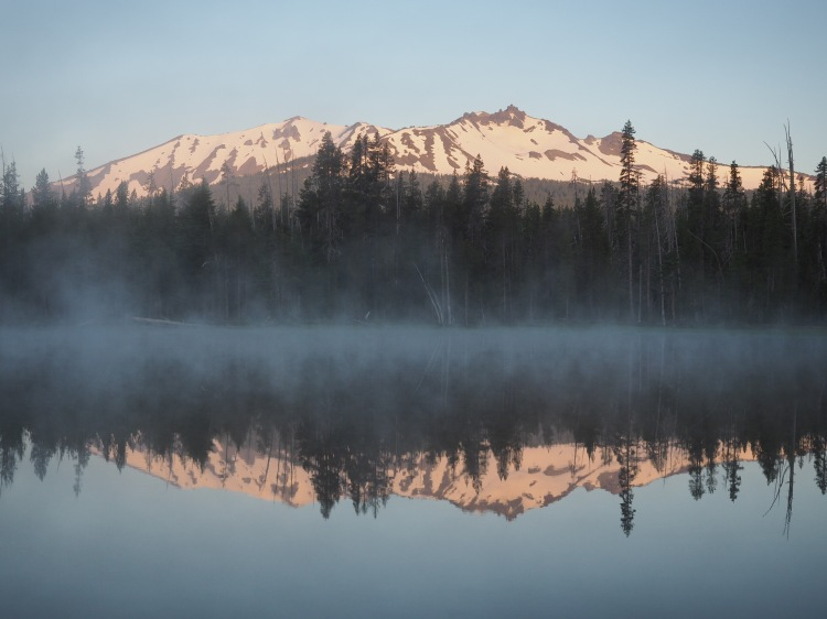 Diamond Peak reflected in Diamond View Lake at sunrise
